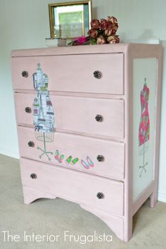 Two fabric lined stencil dress forms decoupaged onto a Vintage Waterfall Dresser: