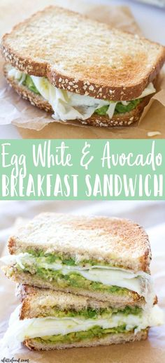 Egg White and Avocado Breakfast Sandwich: This protein packed breakfast sandwich is the perfect way to start the morning! Homemade egg whites are sandwiched between avocado toast, and it's the perfect quick and easy breakfast that's still a healthy breakfast!