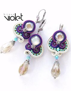 Soutache earrings and pendant with Swarovski crystals