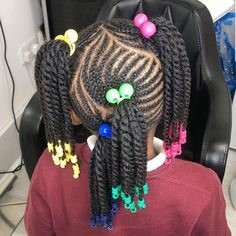 Natural Hairstyles For Kids, Little Girl Hairstyles, Natural Hair Styles, Two Ponytails, Kid Braid Styles, Black Hair Care, Braids For Kids, Brown Girl, Braided Ponytail