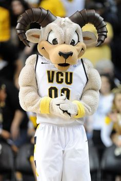 VCU Rodney the Ram mascot on the floor during a college basketball game | #LetsGoVCU