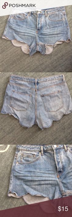 High-Waisted Scalloped Jean Shorts Super cute and fun! High waisted jean shorts with scalloped detailing on the legs. Pretty short - perfect for the beach or festivals. H&M Shorts Jean Shorts