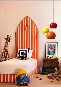 orange and white stripes + colorful pendant lamps