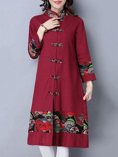 Folk Style Women Long Sleeve Printed Patchwork Frog Buttons Coat - Banggood Mobile
