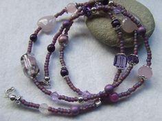 Mixed Bead Wrap Deaign Bracelet Purple by JenniesCharmedDesign
