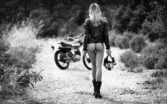 People women back ass monochrome Sylvio Testa the gap women outdoors KTM helmet motorcycle leather jackets depth of field bottomless Motorbike Girl, Motorcycle Art, Motorcycle Leather, Lady Biker, Biker Girl, Moto Cafe, Black Magazine, Scooter Girl, Girl Bike