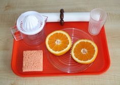practical life activity: Squeezing Oranges - add visual directions and have a wonderful structured functional activity that addresses: hand strength, bilateral coordination, pouring, wiping, drinking, and sensory exploration