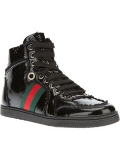 GUCCI - Black hi-top sneaker with fur inside  #gucci #guccishoes #guccisneakers #guccitrainers #gucciblack shoes #blacksneakers, black shoes