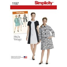 misses' vintage 1960's dress features a contrast neck band and front, and optional belt. pattern also includes lined button front coat with collar and pockets. simplicity sewing pattern.