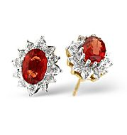 The Diamond Store.co.uk Ruby and 0.07CT Diamond Earrings 9K Yellow Gold Ruby amp
