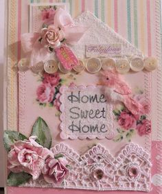 shabby chic home sweet home card