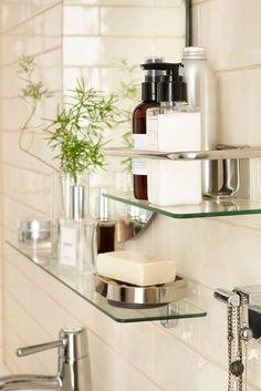 Take your bathroom organization to new levels with KALKGRUND bathroom accessories. These glass shelves are perfect for keeping all your toiletries in one neat place.