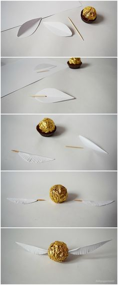 lottapeppermint: The Golden Snitch. A Harry Potter DIY made from Christmas chocolate.lottapeppermint: The Golden Snitch. A Harry Potter DIY made from Christmas chocolate.An adorable Dobby cardAn adorable Dobby card Baby Harry Potter, Harry Potter Baby Shower, Natal Do Harry Potter, Harry Potter Navidad, Harry Potter Motto Party, Harry Potter Weihnachten, Harry Potter Fiesta, Harry Potter Thema, Classe Harry Potter