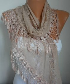 Lace Scarf -  scarf shawl -  - Free scarf - Salmon - fatwoman. $19.90, via Etsy.