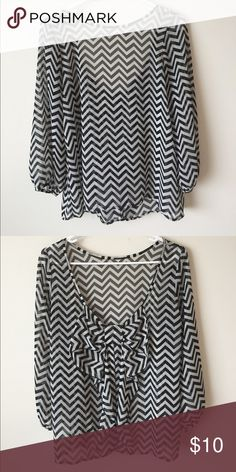 Chevron Bow Blouse Chiffon black and white blouse. Puff sleeves. Low back with bow Foreign Exchange Tops Blouses