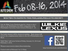 Let the likes begin!  Win two tickets to the Philadelphia Auto Show!