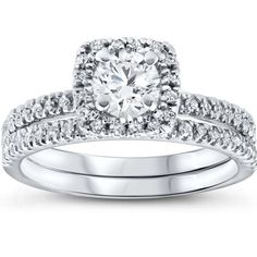 1 cttw Cushion Halo Diamond Engagement Wedding Ring Set 10K White Gold #whitediamonds