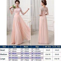 Vakind® Women Lace Chiffon Prom Ball Party Dress Bridesmaid Pink
