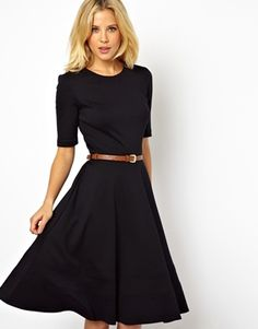 Midi Skater Dress With 3/4 Sleeve