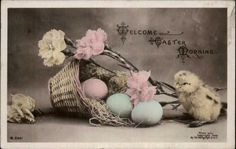 Easter Greeting Chick Basket Flowers ROTOGRAPH Tinted Real Photo c1910 PC