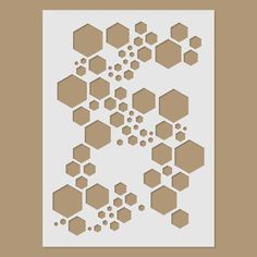 Stencils can be as complicated or as simple as you want - but if you're cutting it by hand, be prepared to spend some time cutting away with the craft knife! Super Hexagon Stencil by StencilDirect on Etsy Stencil Templates, Stencil Patterns, Stencil Diy, Stencil Painting, Stencil Designs, Camo Stencil, Craft Stencils, Coffee Artwork, Arts And Crafts