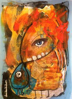 Madonne et son oisillon (Peinture),  30x40 cm par Doudoudidon Peinture Doudoudidon - Loïc Tarin  Acrylique sur film radio de récupération Vernis d'antiquaire Craquelure rehaussées Format 30 x 40 cm