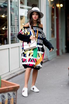 funky bright stripes, a fedora and some gucci shoes!