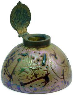 Encrier - Art Nouveau - Bronze et Verre iridescent sur Céramique - Loetz - Années 20
