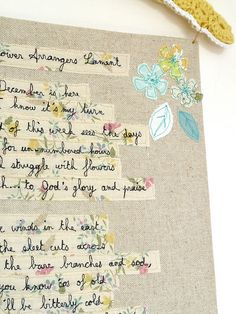 embroidered poem x