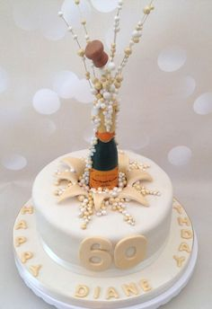 Popping champagne corks birthday c.ake - Cake by Yvonne Beesley 60th Birthday Cake For Ladies, Special Birthday Cakes, Birthday Cake Pops, 70th Birthday Cake Mum, Novelty Birthday Cakes, Champagne Birthday, Champagne Cake, Prosecco Cake, 18th Cake