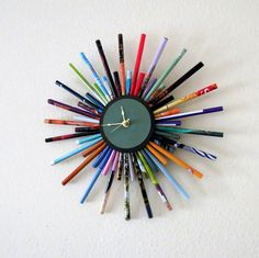 Sunburst Wall Clock  Home and Living Recycled Wall by Shannybeebo.