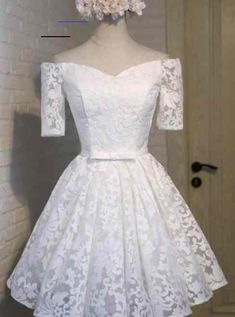 White Lace Homecoming Dress, Short Sleeves Off the Shoulder Homecoming Dresses, Short Prom Dresses, 060 Robes De Confirmation, Confirmation Dresses White, Lace Homecoming Dresses, Bridesmaid Dresses, Affordable Dresses, White Off Shoulder, Short Prom, Bride Gowns, Lace Sleeves
