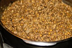 Lentils cooked in white wine and drizzled with thyme – garlic – oil on top is a pure pleasure to eat.
