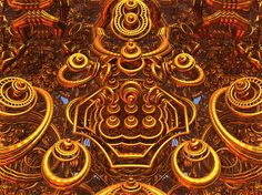 An abstract fractal manipulation with a metallic appearance.