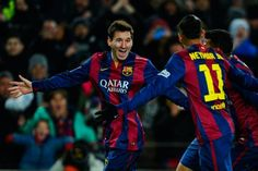 Lionel Messi of FC Barcelona celebrates with his teammate Neymar of FC Barcelona after scoring his team's third goal during the La Liga match between FC Barcelona and Villarreal CF at Camp Nou on February 2015 in Barcelona, Catalonia. Villarreal Cf, Neymar Pic, Messi And Neymar, Camp Nou, Fc Barcelona, Barcelona Catalonia, Ronaldo, Lionel Messi Biography, Messi 2015