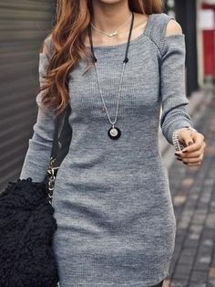 Women's Square Neck   Knitted-dress Knitted Dress from fashionmia.com