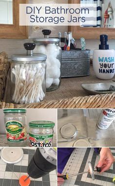 DIY Bathroom Storage Jars - recycle old glass food jars to create a beautiful way to organize and decorate your bathroom counter.