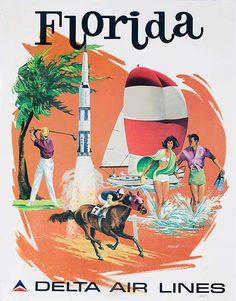 Vintage  Delta Airlines [[Florida]] Travel Poster