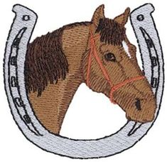 Dakota Collectibles Embroidery Design: Horse W/ Horseshoe 2.50 inches H x 2.56 inches W