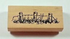 Stamps by Judith FENCE LINE G-35 Wood Mount Rubber Stamp Barbed Wire Post #Judith #Border