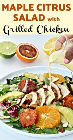 This Maple Citrus Salad with Grilled Chicken is a colorful, delicious, no fuss dish that's perfect for summer! Fresh Salad Recipes, Salad Recipes For Dinner, Healthy Salad Recipes, Healthy Soups, Yummy Recipes, Clean Eating Salads, Clean Eating Recipes, Eating Healthy, Roast Pumpkin Salad