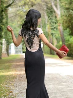 Lace long black dress