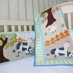 Cotonnier's farm animal crib bedding set
