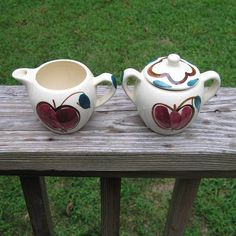 1940s - 1950s Vintage Hand Painted Purinton Creamer & Sugar Bowl with Apple and Pear Theme, Good Condition, Unmarked But Looks Like Purinton by VictorianWardrobe on Etsy