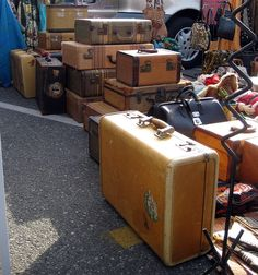 Look at all those wonderful old suitcases at the swap meet!