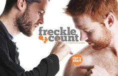 freckle count, a crowd source project. Help Ryan count his freckles. Redhead Men, Freckle Face, Ginger Men, Freckles, Fascinator, Make Me Smile, Redheads, Crowd, Feelings
