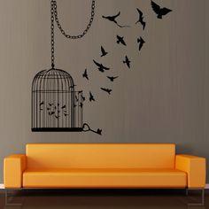 Wall decal decor decals art sticker  birdcage cage bird room flight chain key (m373)