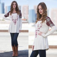1 HR SALELEONA reindeer plaid top - CREAM SELF: 95% RAYON 5% SPANDEX  SPANDEX MADE IN USA. Super festive & cute not only for Christmas but for fall. NO TRADE, PRICE FIRM Tops Tees - Long Sleeve
