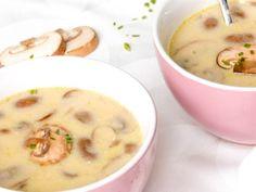 champignonsoep met runderbouillon en creme fraiche