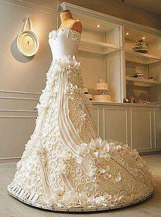 life size wedding dress cake by cake boss Stunning Wedding Dresses, Beautiful Wedding Cakes, Gorgeous Cakes, Pretty Cakes, Cute Cakes, Amazing Cakes, It's Amazing, Gorgeous Dress, Amazing Ideas